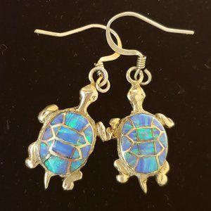 Tortoise Opal Sterling Silver inlay earrings.